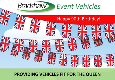 Event vehicles on hire for Queen's 90th Birthday Celebrations